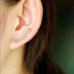 Gold Geometric Minimalist Ear Climber Earring Set
